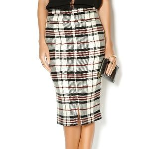Plaid Pencil Skirt in Red, Black, White
